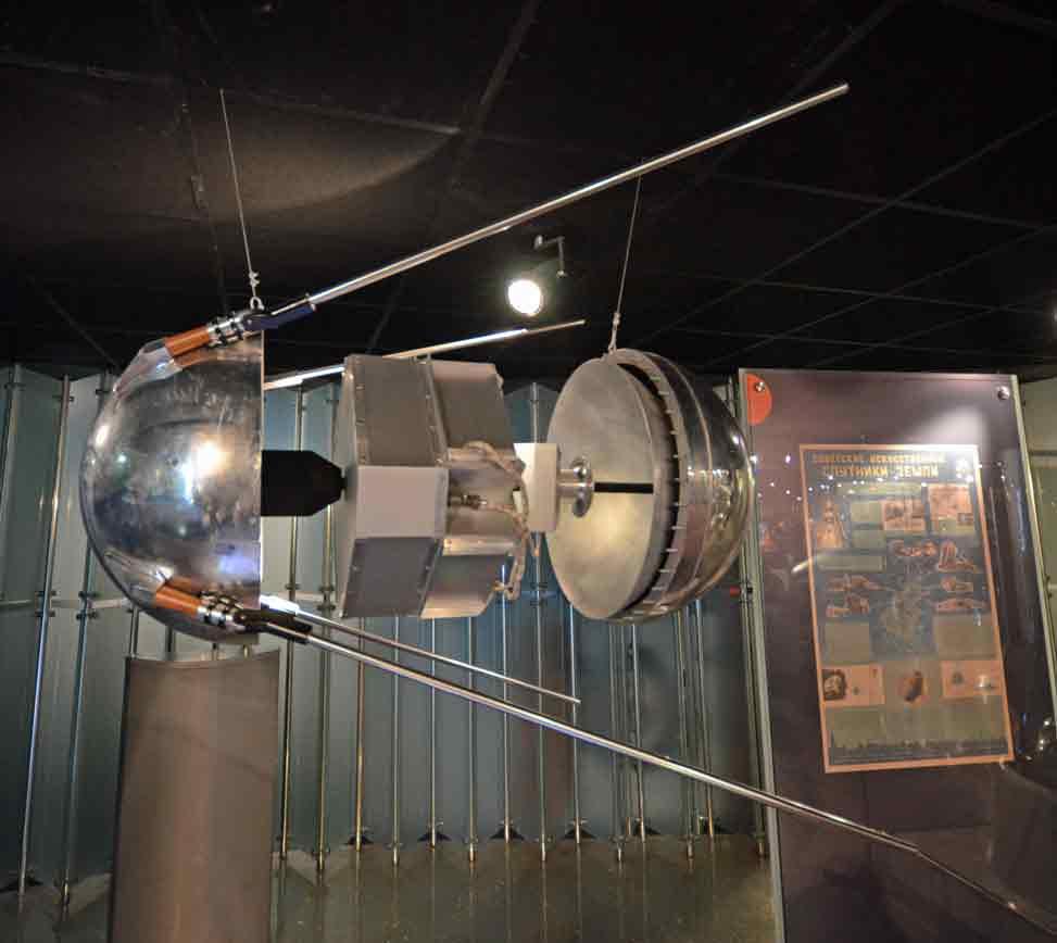 Réplica do Sputnik 1 exibida no Cosmonautics Space Museum Moscow